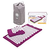 BODHI Akupressur-Set Vital: Akupressurmatte (74 x 44cm) & Akupressurkissen, inkl. Tasche, zur Selbstmassage, Entspannung, Förderung der Durchblutung (aubergine)