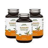 Bio Kurkuma Kapseln im Glas – 40-fache Bioverfügbarkeit ohne Pfeffer – Mehrfach Ausgezeichnet – C14 geprüft – 180 Stück