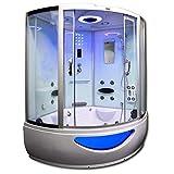 Home Deluxe - Duschtempel - Exclusive weiß - Maße: 150 x 150 x 220 cm - inkl. Whirlpool und Dampfsauna