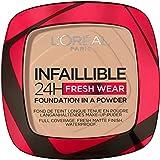 L'Oréal Paris Infaillible 24H Fresh Wear Make-Up-Puder 130 True Beige, langanhaltendes & mattierendes Make-Up-Puder, wasserfest, schweißfest, bis zu 24H Halt, 9 g