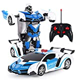 Auto-Roboter, 2 In 1 Transformatoren RC Roboter Auto Fernbedienung Auto Spielzeug, Transformieren Roboter Fernbedienung Auto mit einem Knopf Transformation Led-leuchten RC Autos Spielzeug für Kinder