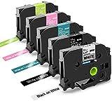 Oozmas kompatible Etikettenband als Ersatz für Brother 12mm 0.47mTape TZe-231 für Brother P-Touch 1000 D400 H110 1010 H100lb, Farbband SchwarzWeiß LimettengrünTürkisblau Beerenrosa, 5er-Pack