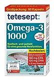 tetesept Omega-3 1000 - Seefisch- und Lachsöl Kapseln – Hochdosierte Omega 3 Fettsäuren DHA, EPA & Vitamin E - Unterstützung des Herz-Kreislauf-Systems – 1 x 80 Stück [Nahrungsergänzungsmittel]