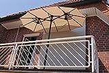 Leco Balkon-Ovalschirm Natur Sonnenschirm, ca. L 270 x B 150 x H 195 cm