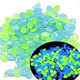 Moslate 100 Stück Leuchtende Steine, Blaugrün Gemischt Im Dunkeln Leuchtende Kieselsteine für Den Außenbereich, Gartenrasenhof, Teich, Aquarium, Gehweg, Wegdekoration