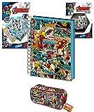 MJB Marvel Bumper Stationery Bundle Set - Marvel A5 Wiro Notebook 3D Cover - Federmäppchen - 800...