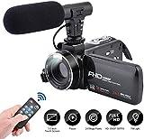 Videokamera Camcorder, 3,0-Zoll-IPS-Touchscreen FHD 1080P-Vlogging Kamera mit Blitz, 24 Megapixel Digital-Camcorder für YouTube 16-facher Digitalzoom Foto Kamera mit Mikrofonlautsprecher