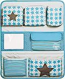 LÄSSIG Autoorganizer Kinder Autorücksitzorganizer Rücksitztasche für Auto oder Kinderzimmer zum Hängen zusammenklappbar / Car-Wrap-to-Go, Starlight Olive