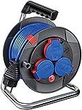 Brennenstuhl Garant Kompakt IP44 Kabeltrommel (15m Kabel, Spezialkunststoff, kurzfristiger Einsatz im Außenbereich, Made in Germany) blau