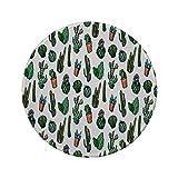 Rutschfreies Gummi-rundes Mauspad Kaktusdekor skizzenhafte mexikanische Gartenlaube mit Spikes Boho Handgezeichnete Strichkakteen in Töpfen Dekorativ mehrfarbig 7.9'x7.9'x3MM