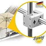 Sonnenschirmhalter Balkongeländer - Sunnystar, der Edle aus Aluminium - Sonnenschirmständer Balkon hält Schirme bis Ø 3,50m stabil und sicher - Made in Germany