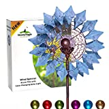 Solar Metall Windrad - azurblau mit LED-Licht - Windspiel für draußen - leichter Aufbau - wetterfest - extra antike Gartendeko - Windrad LED - standfest - ideal für Terrasse und Garten - Höhe: 190 cm