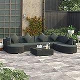 Festnight 8-TLG. Garten-Lounge-Set mit Auflagen Lounge Sitzgruppe Sitzgarnitur Gartengarnitur Gartenset Gartensofa Fußhocker Poly Rattan Schwarz