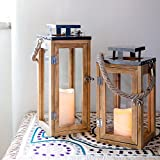 Lights4fun Salcombe Holz Laterne mit LED Kerze Batteriebetrieb Timer 34cm