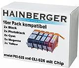 10 Druckerpatronen mit Chip für Canon, ersetzt PGI-525BK CLI-526BK CLI-526C CLI-526M CLI-526Y