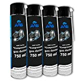 AAB Druckluft-Reiniger 4 x 750ml, Reinigungspray, Reinigung von Tastatur, PC, Keyboard, Bildschirmen, Spielekonsolen, Kopierer, Computergehäuse, Air Duster, Luft-druck, Luftdruckspray