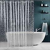 SPARIN Duschvorhang 180x200 transparent, durchsichtig Duschvorhänge Antischimmel für Badewanne, Eva wasserdicht Shower Curtains, 180 x 200 cm Badvorhang mit 12 Duschvorhangringen