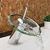 VILSTEIN Waschtisch-Armatur Einhebelmischer Einhand Wasserhahn mit Wasserfall-Effekt Armatur für Bad Badezimmer Waschbecken, Verchromt, Glas-Auslauf, Hell-Grün, Standard Anschluss 1/2