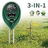 ZOTO Bodentester, Boden Feuchtigkeit Meter, 3 in 1 Boden-pH-Messgerät für Feuchtigkeit/Sonnenlicht/pH für Pflanzenerde, Garten, Bauernhof, Rasen, Indoor, Outdoor - kein Batterien erforderlich