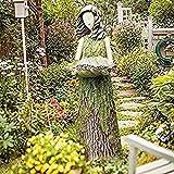 Delisouls Vogeltränke für den Außenbereich, Sherwood Farn Fee Statuary mit Vogelfutterstation, Kunstharz, Ornament für den Außenbereich, Garten-Statue, super niedlich für Gartendekoration