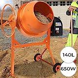 TIMBERTECH Betonmischer | 140L, 650W, mit Handrad, 2 Räder, elektrisch, Stahl, Orange| Mörtelmischer, Zementmischer, Mischer