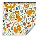 Muralo Tapete Für Kinder - Füchse, Vögel und Blumen Vlies Wald trendy Umwelt - 78824940