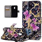 Kompatibel mit Motorola Moto G4 Play Hülle,3D Bunte Gemalte Schmetterlings PU Lederhülle Flip Ständer Wallet Handy Hülle Tasche Handy Tasche Schutzhülle für Motorola Moto G4 Play,Rosa Schmetterling