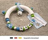 Baby Greifling Beißring halbrund mit Namen - individuelles Holz Lernspielzeug als Geschenk zur Geburt Taufe - Jungen Motiv Auto in blau