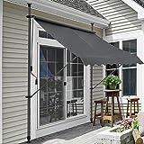 [pro.tec] Klemmmarkise - Grau - 300 x 120 x 200-300cm - Markise Balkonmarkise Sonnenschutz - ohne Bohren