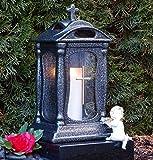 ♥ GRABLAMPE Keramik 30,0cm Silbergrau Glas Kreuz MIT GRABKERZE GRABLATERNE Grablicht GRABSCHMUCK GRABLEUCHTE Laterne Lampe LICHT Kerze
