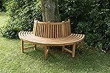 CLP Halbrunde Baumbank Male aus massivem Teakholz I Gartenbank mit bis zu Vier Sitzplätzen I Naturbelassene Holzbank mit Rückenlehne Braun