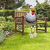 Gartendeko Harz Huhn Deko, Handarbeit Ornament Yard Art Hühner, Gartenstecker Gartenfiguren Chicken, für Balkongartendekoration auf dem Bauernhof (grau)