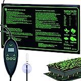 RINBO Einstellbar Heizmatte Warmematte, Heizmatte Pflanzen mit 6 Timer und 6 Temperaturstufen Warmematte,verfugt uber Sonden und LCD-Anzeige,fur Pflanzen und Zimmergewachshaus,100% Wasserdicht