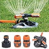 Fixget Garden Sprinkler, verbessertes Rasenbewässerungssystem, automatische 360-Grad-Bewässerungssprinkleranlage 3-Arm-Sprühgerät mit Schnellschlauchanschlüssen für Bewässerungsanlagen (Orange)