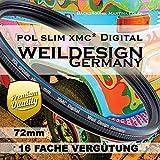Polfilter POL 72mm Circular Slim XMC Digital Weil Design Germany * Kräftigere Farben * Frontgewinde...