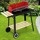 Broil-Master Grill BBQ Holzkohle Grillwagen mit Feuerbox - schwarz / rot, 83 x 77,5 x 39,5 cm