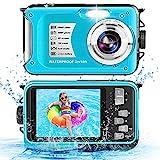 Unterwasserkamera 10FT 1080P Full HD 30MP Wasserdichte Kamera, Anti Shake 16X Digital Zoom Unterwasserkamera zum Schnorcheln Blau