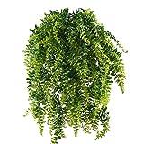 MIHOUNION 2 Pcs Farn Künstlich Kunstpflanzen Hängend Hängepflanzen Künstliche Grünpflanze Kunststoff Pflanzen Kunstpflanzen für Draussen Balkon Topf Hochzeit Garten Deko