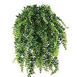 MIHOUNION Farn Künstlich Kunstpflanzen Hängend Hängepflanzen Künstliche Grünpflanze Kunststoff Pflanzen Kunstpflanzen für Draussen Balkon Topf Hochzeit Garten Deko 2 Pcs