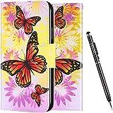 Uposao Kompatibel mit iPhone 6S 4.7 Hülle Leder Vinatge Bunt Muster Brieftasche Handyhülle Schutzhülle Flip Wallet Case Leder Tasche Hülle Klapphülle Magnet,Schmetterling