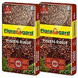 Floragard Mulch Pinienrinde 25-40 mm 2x60 L • grob • dekorativer Bodenbelag • unterdrückt Unkrautwuchs • naturbelassen • für mediterranes Flair • 120 L