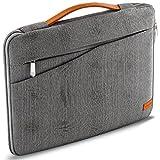 deleyCON Notebook-Tasche für z.B. Netbook Laptop bis 15,6' (39,62cm) Schutztasche aus robustem Nylon 2 Zubehörfächer verstärkte Polsterwände - Grau