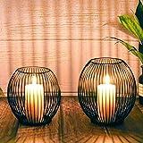 Kerzenständer 2er Set, Kerzenhalter Schwarz Oval Metall Kerzenleuchter für Wohnzimmer Schlafzimmer Vintage Deko, Hochzeit Bankett Weihnachts Kerzenleuchter 14 *15.5 / 16 * 18cm