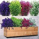 12 Bündel Künstliche Sträucher Büsche Gefälschte Blumen Outdoor UV Beständige Pflanzen Kunststoff Blumen Grünsträucher Kunst Hängende Pflanzen für Haus Garten Hochzeit Dekor, Gemischte Farbe