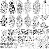 Yazhiji 49 Blatt große Blumen Sammlung wasserdichte temporäre Tattoos dauerhafte gefälschte Tattoos für Frauen und Mädchen