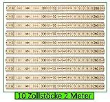 Set 10 Stück Zollstock 2m (200cm) 10 Glieder, Naturfarbe lackiert, Gliedermaßstab