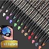Emooqi Acrylstifte Marker Stifte, 12 Farben Stifte Glitzer Metallic Stifte Set Gelstifte Marker Set Permanent Art Filzstift Acrylic Painter Lackstifte Acrylstifte für Steine, Black Card, Fotoalbum