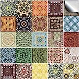 Tile Style Decals 24 stück Fliesenaufkleber für Küche und Bad 24x NTP 06-6' | Verschiedene Mosaik wandfliesen Aufkleber für 15x15cm Fliesen