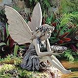 Garten Ornament Sitzen Magische Fee,Sitzende Elfen Gartenfiguren, Garten Skulpturen&Engel Harz Gartenstatuen,Tudor und Turek Sitzen Fee Statue,Hof Dekoration Garten Elf Statue Figur Fee Fairy (Resin)
