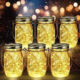 6 Stück Solarlampen für Außen | 40er LED Solar Licht mit Windmühlenmuster für Garten | Solarglas Lichterkette Leuchten Solarleuchten Wasserdichte Hängeleuchten Gartendeko für Party, Hochzeit, Baum